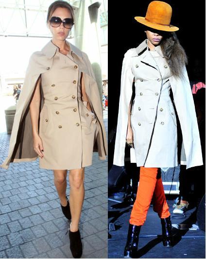 Victoria Beckham vs Erykah Badu in Junya Watanabe Comme des Garcons+trench coatdress
