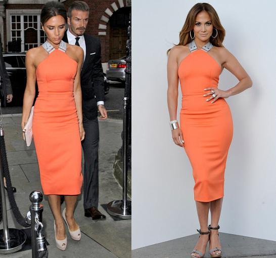 Victoria Beckham vs Jennifer Lopez in Victoria Beckham+orange bodycon dress