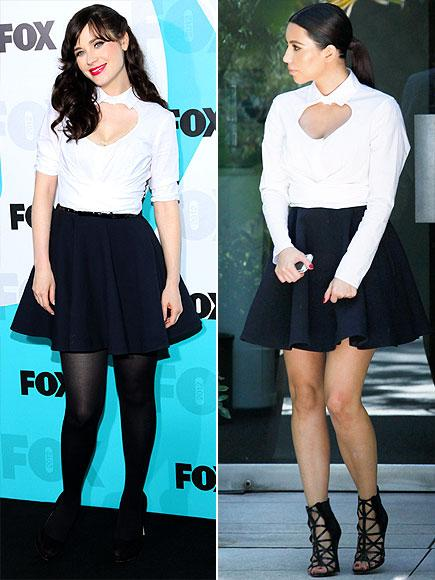 Zooey Deschanel vs Kim Kardashian in Carven+skater dress