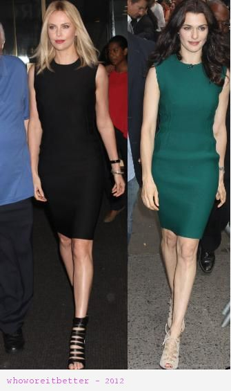 Charlize Theron vs Rachel Weisz in Lanvin+Bodycon dress