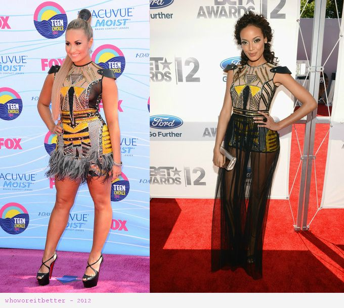Demi Lovato vs Selita Ebanks in Falguni & Shane Peacock+Gladiator dress