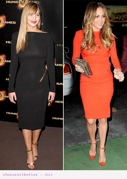 Jennifer Lawrence vs Jennifer Lopez wearing Tom Ford+fitted dress