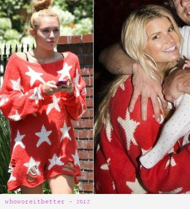 Miley Cyrus vs Jessica Simpson in Wildfox Couture+Star jumper