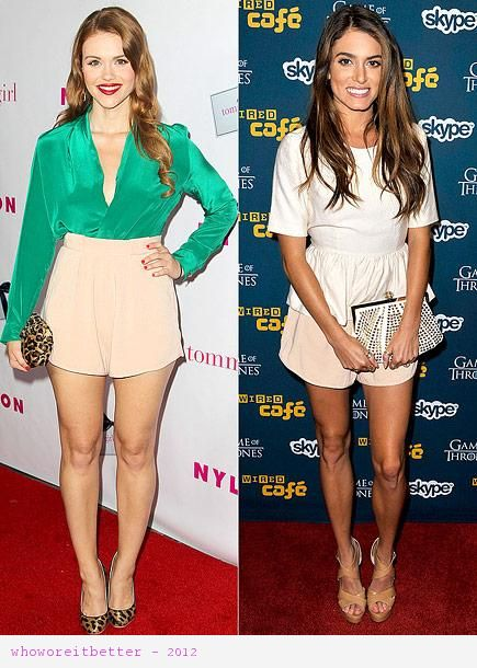 Nikki Reed vs Holland Roden in Finders Keepers+tailored shorts