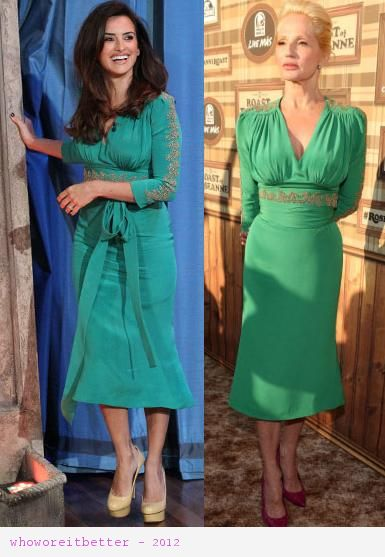 Penelope Cruz vs Ellen Barkin in LWren Scott+green wrap dress