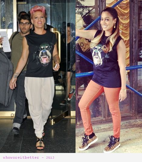 Pink vs Lala Anthony in Givenchy+Rottweiler tshirt