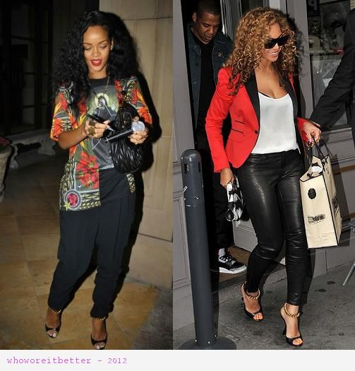 Rihanna vs Beyonce in Tom Ford+black and chain wedges