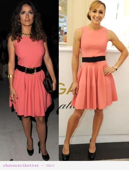 Salma Hayek vs Jessica Ennis in Alexander McQueen+coral skater dress