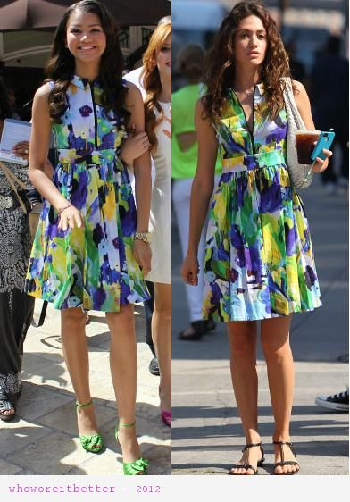 Zendaya vs Emmy Rossum in Kate Spade New York+shirt dress