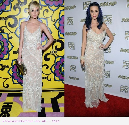 Ashlee Simpson vs Katy Perry in Temperley London+embellished dress
