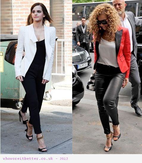 Beyonce vs Emma Watson in Tom Ford sandals+Chain wedge sandals