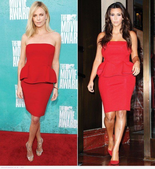 Charlize Theron vs Kim Kardashian in Lanvin+Red peplum dress