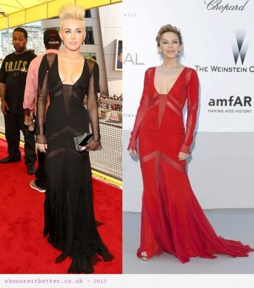 Miley Cyrus vs Kylie Minogue in Emilio Pucci+Cut out dress