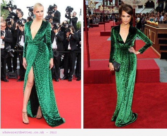 Alicia Vikander vs Natasha Poly in Gucci+Green dress