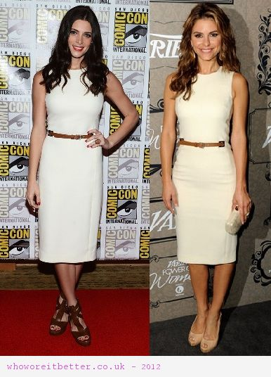 Ashley Greene vs Maria Menounos in Michael Kors+white shift dress