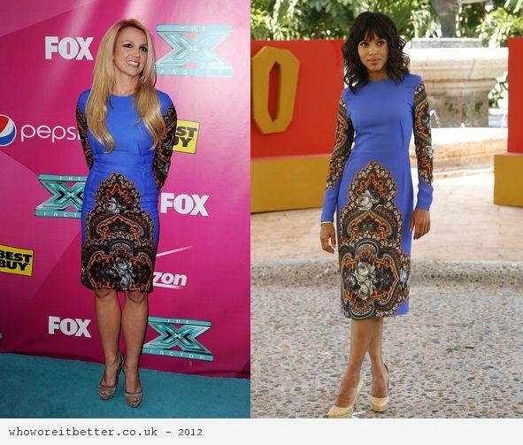 Britney Spears vs Kerry Washington in Stella McCartney+printed longsleeve dress