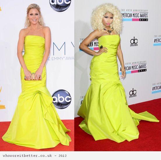 Julies Brown vs Nicki Minaj in Monique Lhullier+neon yellow dress