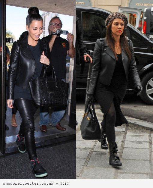 Kim Kardashian vs Kourtney Kardashian in Valentino+Leather jacket