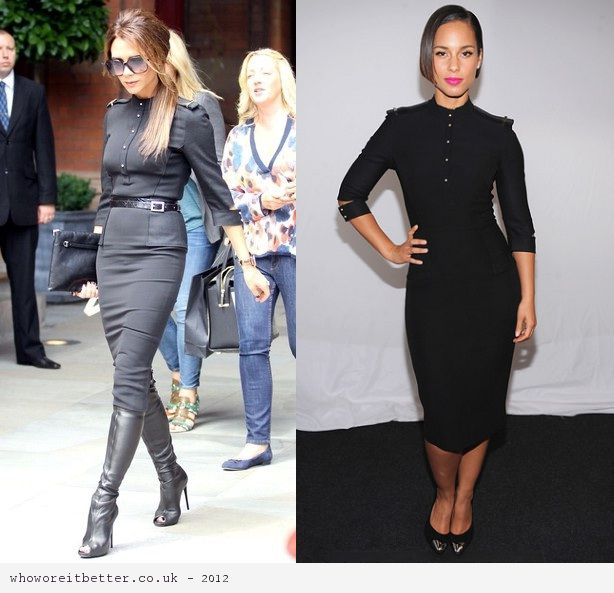 Victoria Beckham vs Alicia Keys in Victoria Beckham+short sleeve dress