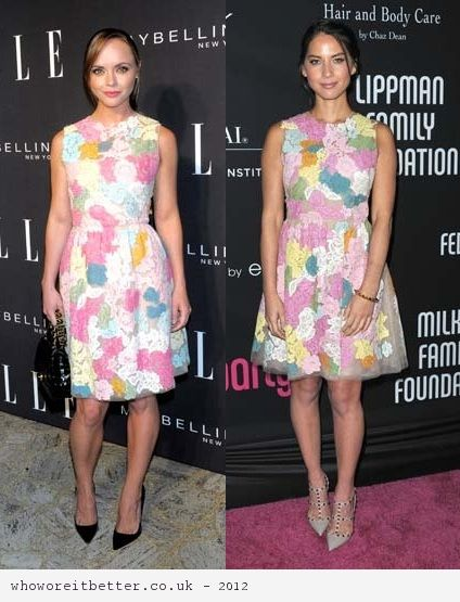 Christina Ricci vs Olivia Munn in Valentino+floral Spring 2013 dress