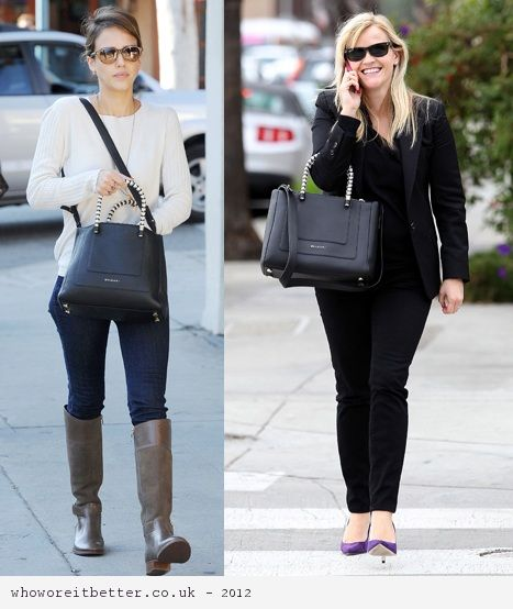 Jessica Alba vs Reese Witherspoon in Bvlgari+black leather chain bag