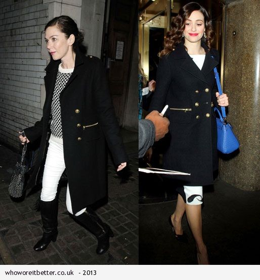 Anna Friel vs Emmy Rossum in Gerald Darel+military officer coat