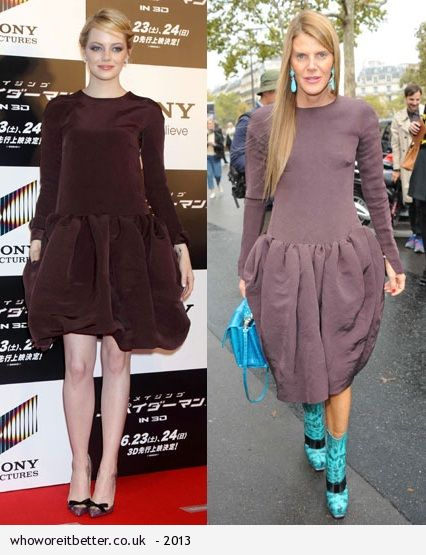 Emma Stone vs Anna Dello Rosso in Rochas+drop waist dress
