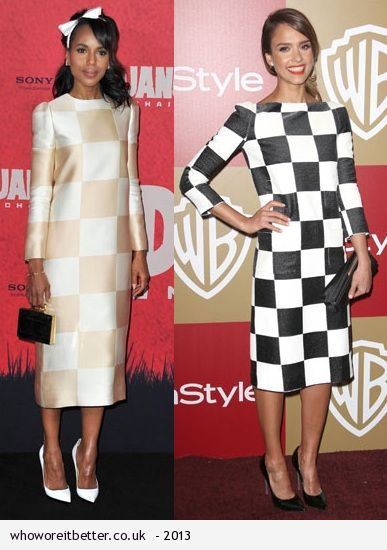 Kerry Washinton vs Jessica Alba in Louis Vuitton + checkered dress