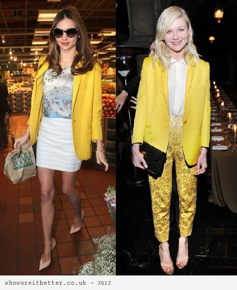 Miranda Kerr vs Kirsten Dunst in Stella McCartney+Yellow blazer