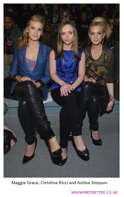 Maggie Grace, Christina Ricci and Ashlee Simpson +Richard Chai fashion show