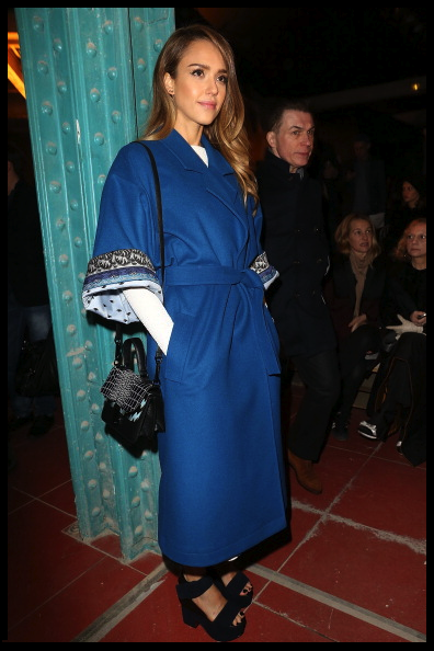 Jessica Alba sat FROW at the Kenzo show