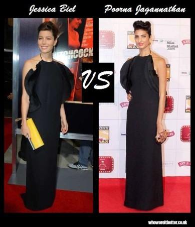 Jessica Biel vs Poorna Jagannathan in Gucci RTW