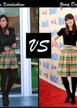 Kim Kardashian vs Zooey Deschanel in Dolce and Gabbana