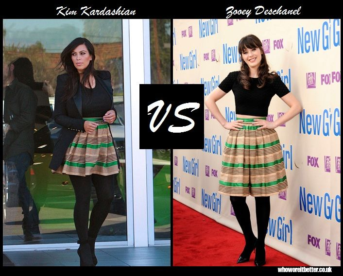 Kim Kardashian vs Zooey Deschanel in Dolce & Gabbana